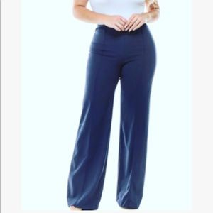 High rise Seamed Wide Leg Jeans